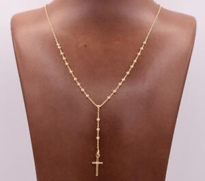 2-5mm-Rosary-Shiny-Chain-Necklace-14K-Yellow-Gold-Clad-Silver-Italian-24-034