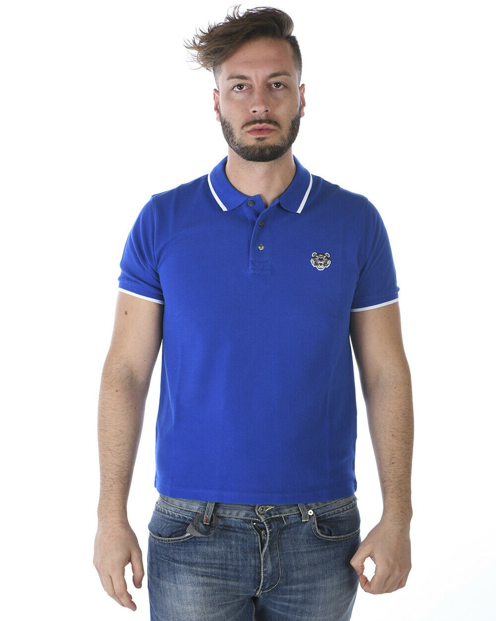 Kenzo Polo hemd TIGER baumwolle Man Blau 4BA5PO001 74FB Sz. M PUT OFFER
