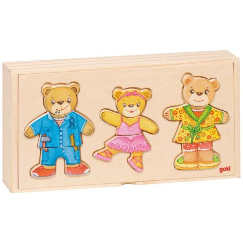 goki Anziehpuppenpuzzle Bärenfamilie 57811 Holzspielzeug Puzzle 36 Teile Holzspielzeug