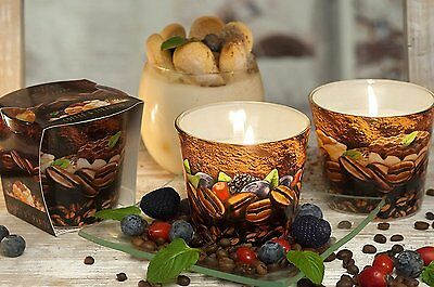 2 x Scented Candle in a Glass Pots of 115g, Tiramisu, Coffe + Coffe + Blueberry