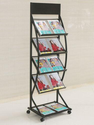 A3 A4 Portrait Folding Wheeled Floor Stand Literature Brochure Holder Rack Shelf