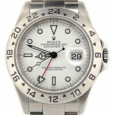 """Rolex Stainless Steel Explorer II Date Watch SEL """"No Holes"""" 40mm White 16570T"""