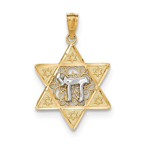 Charm 14k Yellow Gold Two-tone Gold Polished Star of David w//Chai Pendant