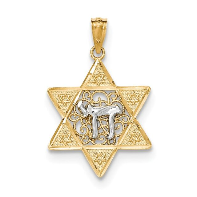 14k Yellow Gold Two-tone Gold Polished Star of David w/Chai Pendant / Charm