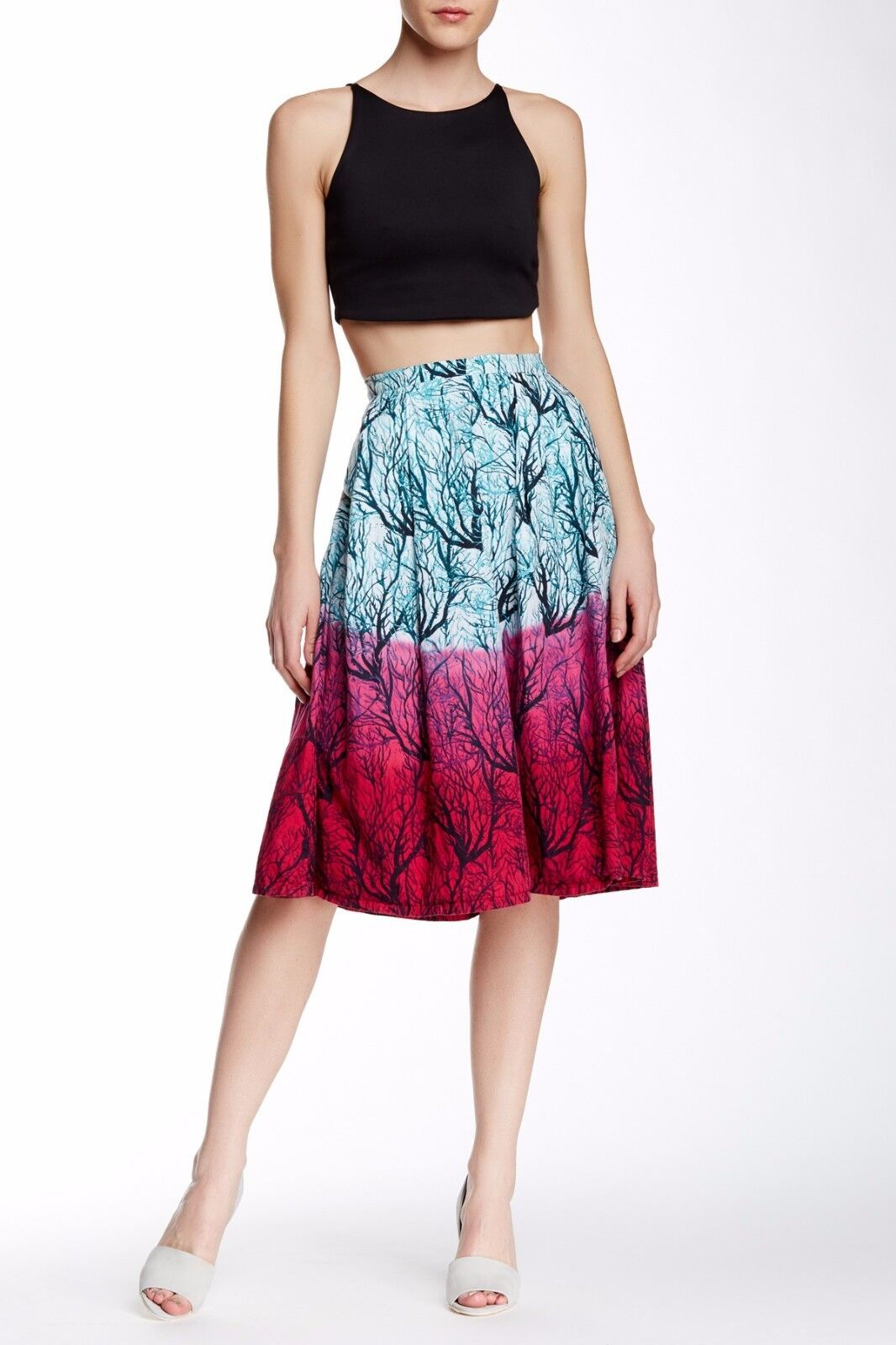 French Connection West Lake Sea Fern Print Poplin Flare Midi Skirt.Size 12.