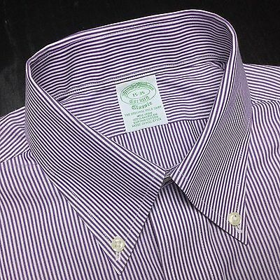 BROOKS BROTHERS Mens 15 35 Classic Purple White Striped Non-Iron Supima Shirt