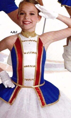 NWT Dance Costume Peplum drum major Half Skirt Patriotic Gold Trim ch//ladies szs