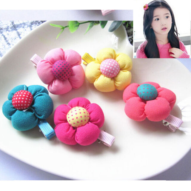 5 Pcs Cute Flower Hair Clips Kids Candy Color Hairpins For Baby Kids Girls  Pop