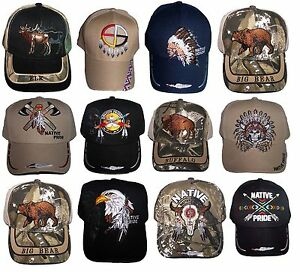 3238ea96751 Image is loading Native-Pride-Baseball-Caps-Assorted-Styles-Embroidered -12Pcs-