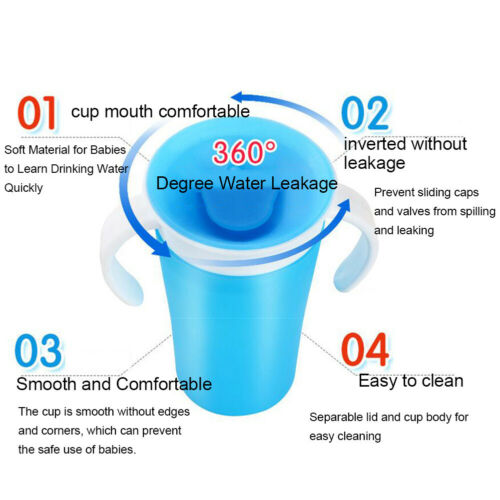360 DEGREE ROTATABLE BABY LEARNING DRINKING WATER CUP ANTI-CHOKE BOTTLE FADDISH