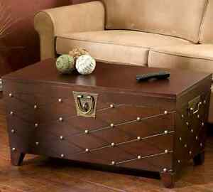 Trunk Coffee Table Vintage Antique Style Storage Wood Pine Large Nail Decor New 723436237016 Ebay