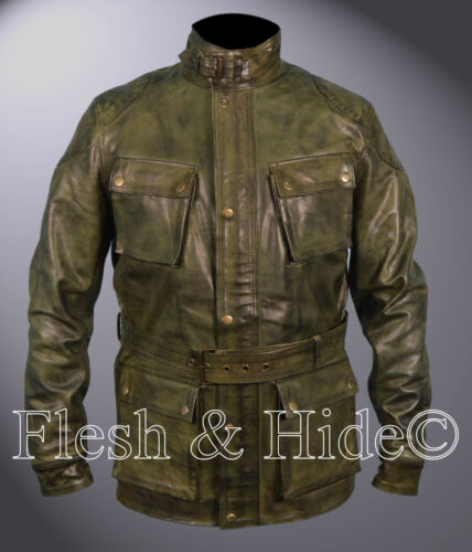 Genuine Waxed Sheepskin Leather Benjamin Button Brad Pitt Motorcycle Coat