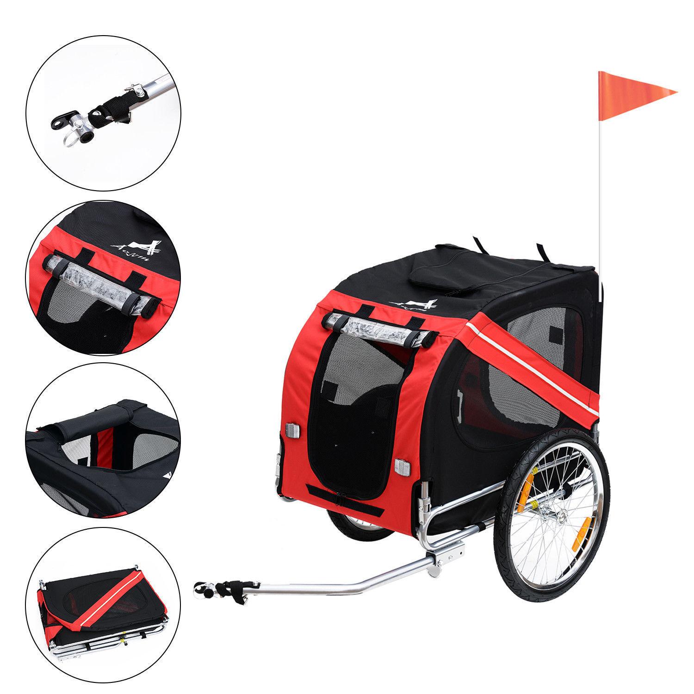 New Folding Pet Bicycle Trailer Dog Cat Bike Carrier w  Drawbar Hitch Stroller