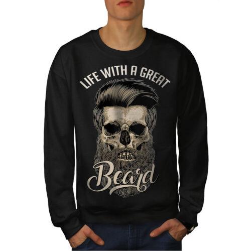 Life With Beard Skull Men Sweatshirt NEWWellcoda