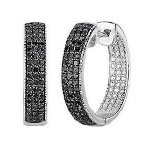 Image Is Loading Black Diamond Inside Out Hoop Earrings 2 50ct