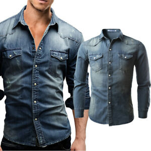 b36e2d1e7dcf2 Men Slim Fit Button Down Jeans Shirt Tops Casual Long Sleeve Denim ...