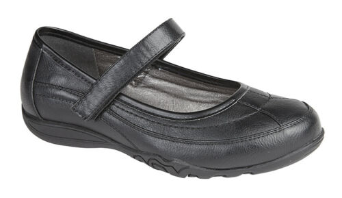 Boulevard G857A Girls Black Matt Touch Fastening Mary Jane Style School Shoes