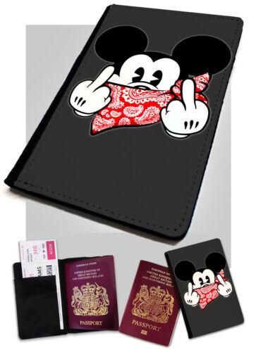 Mickey mouse doigts imprimé en cuir synthétique porte-passeport cover case grossier drôle