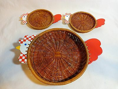 CHICKEN WICKER BASKET TRAYS Set of 3 Wood Red White Shallow