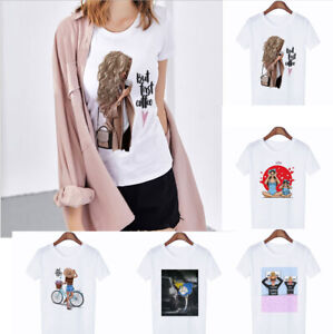 Wholesale-Fashion-Women-039-s-Casual-T-shirt-Short-Sleeve-Round-Neck-T-Shirts