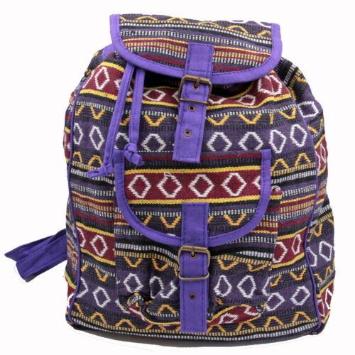 Rucksack Tasche Ethno Backpack Baumwolle Beutel Hippie Goa Festival Lila BWR5