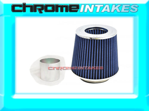 """BLUE UNIVERSAL 2.75/"""" 70mm FLANGE DRY AIR FILTER FOR BMW AIR INTAKE+PIPE"""