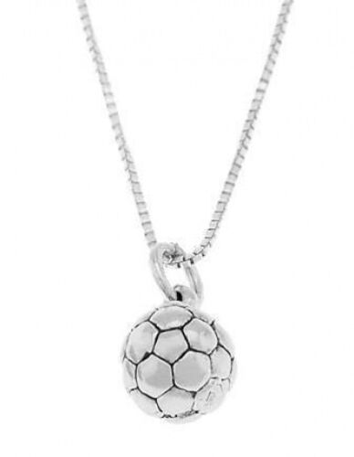 STERLING SILVER SOCCER BALL CHARM WITH BOX CHAIN NECKLACE