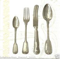 3 Servietten Napkins Besteck Silberbesteck Löffel Gabel Messer 239