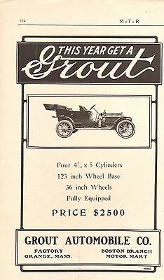 1910 GROUT TOURING CAR AD - VINTAGE  ORIGINAL