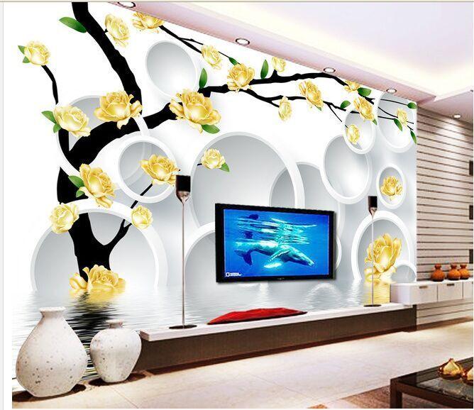 3D fiori gialli 2 Parete Murale Foto Carta da parati immagine sfondo muro stampa