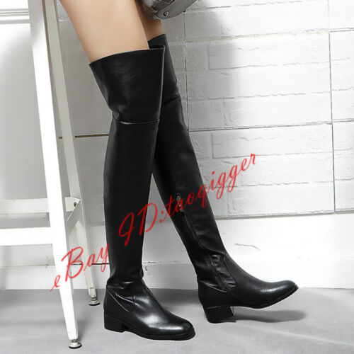 Womens Low Heesl Loose Over Knee High Boots Stretch Leather Thigh High Boots New