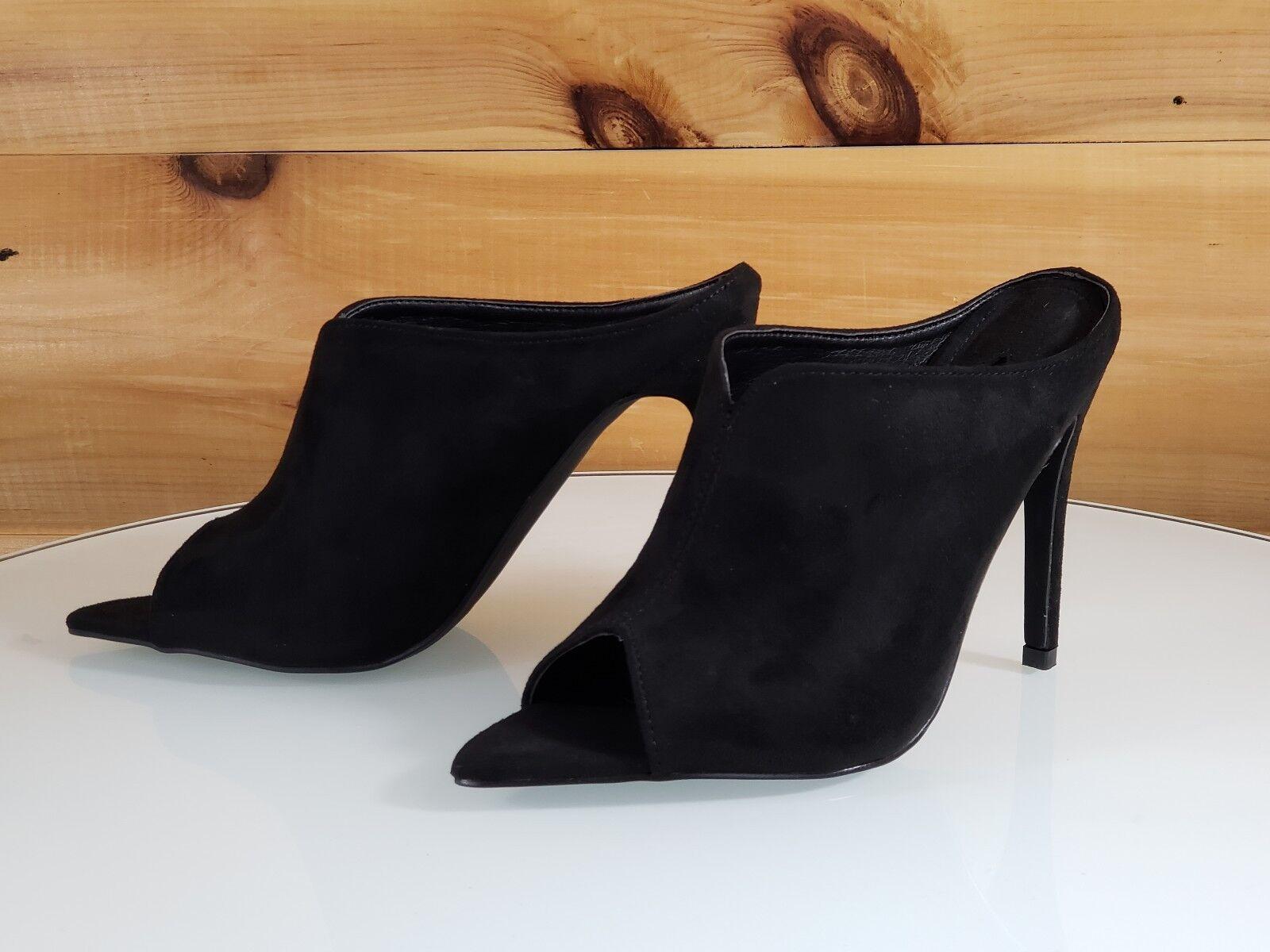 Mac J Black Vegan Suede Open Pointy Toe Slip On Mule Clog 4.5 High Heel 7- 11