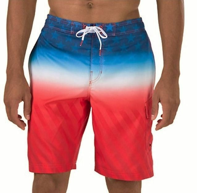 SPEEDO Flag Fade bluee Red White bluee Board Shorts Swim Trunks NEW Mens S XL