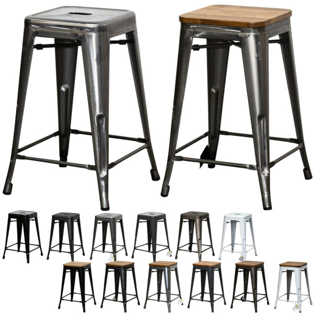 Pleasing Tolix Style Rustic Vintage Metal Bar Stool Dining Bistro Furniture Wood Seat New Andrewgaddart Wooden Chair Designs For Living Room Andrewgaddartcom