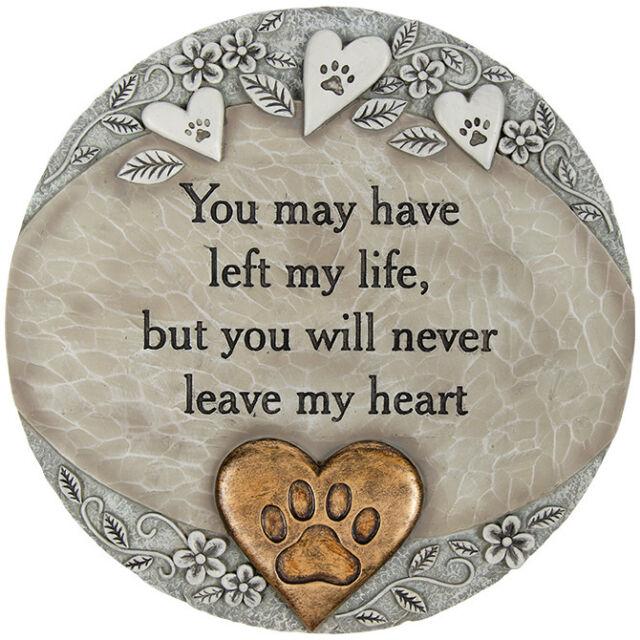 Pet Memorial Stone Heart Paw Print Grave Marker
