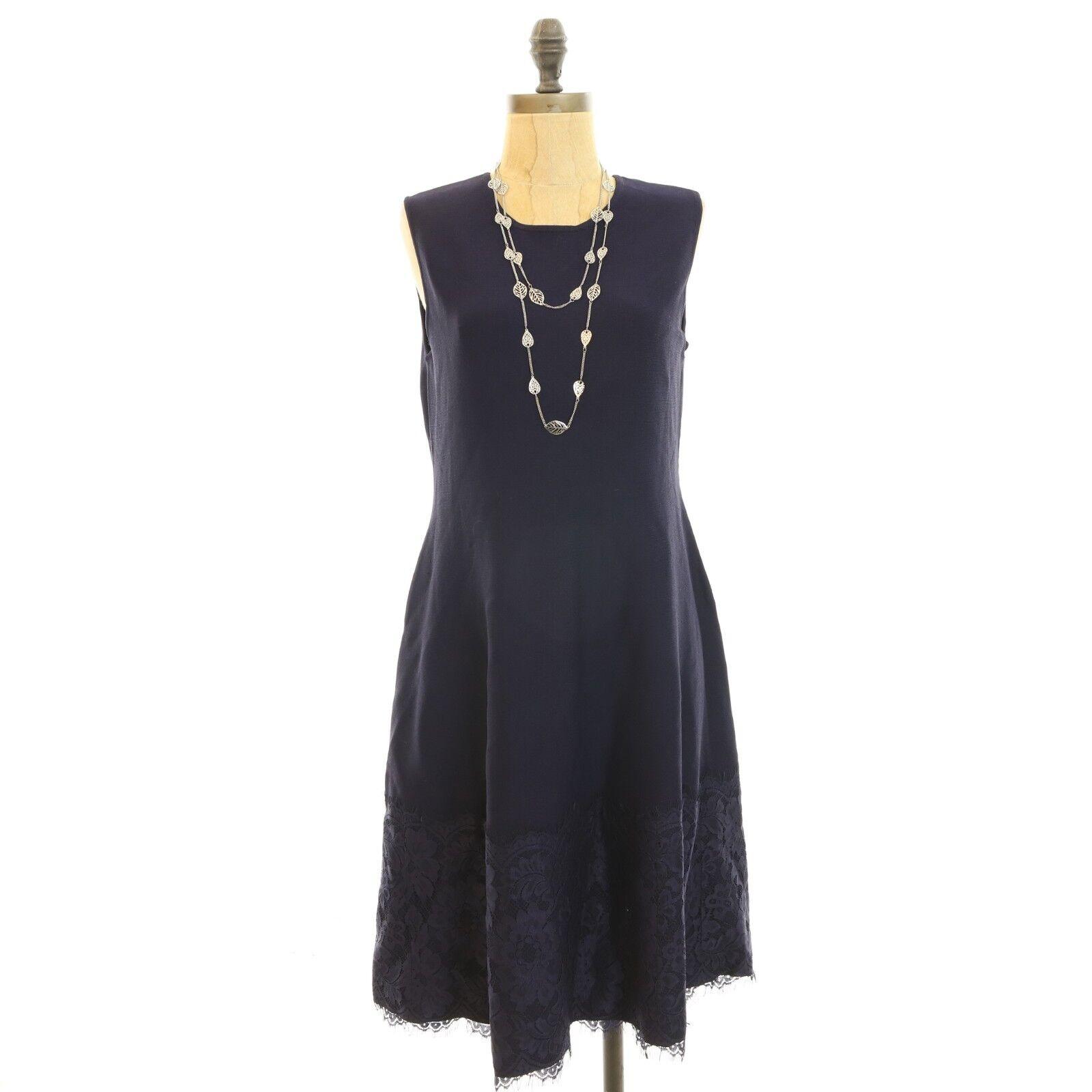 Eliza J Nordstrom Sheath Dress Size L Lace Hem Sleeveless Navy bluee  B87