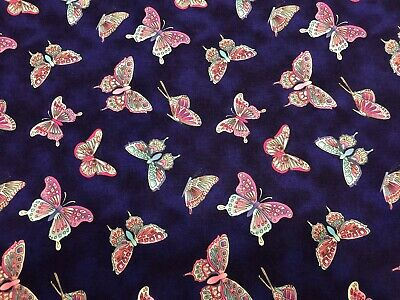 """100/% Cotton Fabric /""""Butterfly Meadow/"""" Blank Quilting White w//Light Blue Flower"""