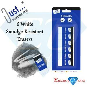 6-Quality-White-Soft-Erasers-Rubbers-Smudge-Resistant-Stationery-School-Office