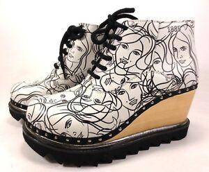 BERKEMANN Plateau Schuhe Leder Holz schwarz weiß Ankle Boots NEU 189,95