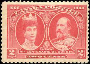 Mint-H-Canada-F-Scott-98-2c-1908-Quebec-Tercentenary-Issue-Stamp