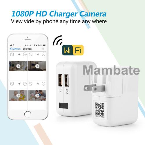 WiFi Full HD 1080P USB Wall Charger Mini Spy Motion Hidden Camera Power Adapter