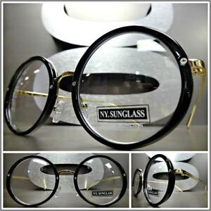 db1da6004217 CLASSIC VINTAGE 50 s RETRO Style Clear Lens EYE GLASSES Round Black ...