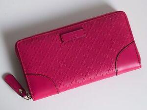 GUCCI-Damen-Geldboerse-Portemonnaie-Leder-Farbe-pink-Neu