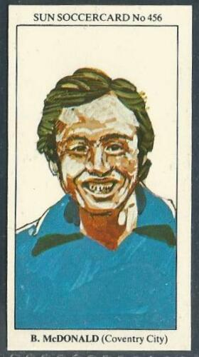 THE SUN 1979 SOCCERCARDS #456-COVENTRY CITY-ASTON VILLA-BOBBY McDONALD