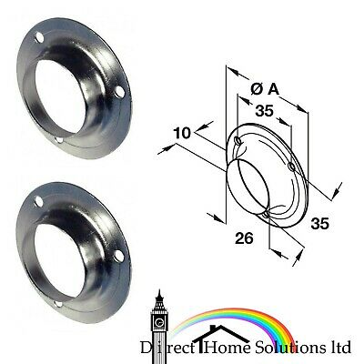 2 x MIRROR CLIPS FIXINGS FITTINGS ROUND SILVER NICKEL PLATED FREE P/&P