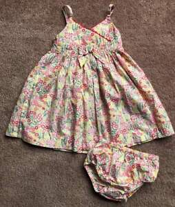 Janie-and-Jack-EUC-Infant-Baby-Girl-Floral-Summer-Dress-Set-Bloomers-6-12m