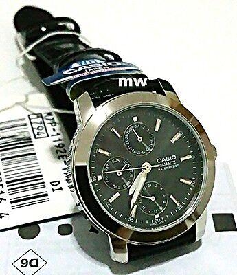 NEW Casio MTP-1192E-1A Day Date Analog Quartz Black Leather classic Men's Watch