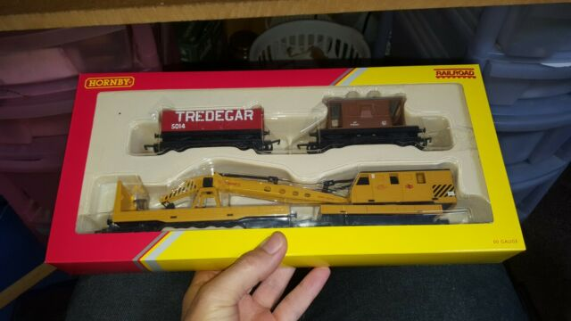 OO Gauge Hornby R6365 Railroad Breakdown Train 20 Ton Brake Van Crane LWB Open