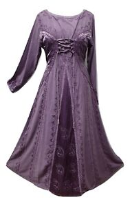victorian medieval lilac dress corset stonewash rayon high