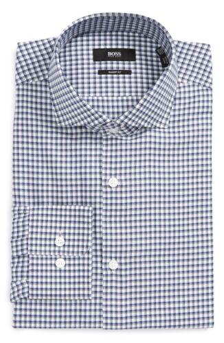 Boss Hugo Boss Black Label Dark Grey Mark US Geo Print Sharp Fit Dress Shirt